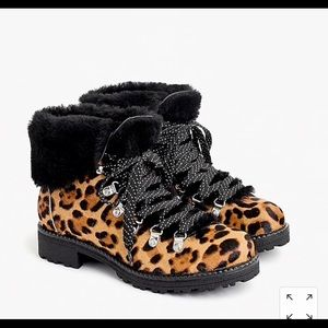 Jcrew Nordic Boots In Leopard Calf Hair